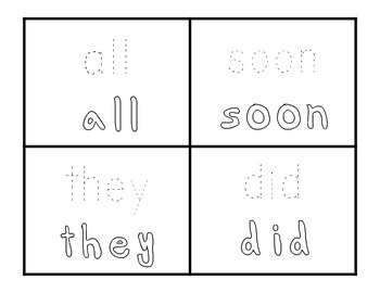 Dolch Primer Sight Word Booklet: trace & colour flash cards