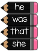 Dolch Primer Word Wall Sight Word Cards- Black