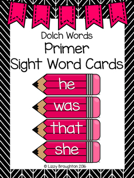 Dolch Primer Word Wall Sight Word Cards- Pink