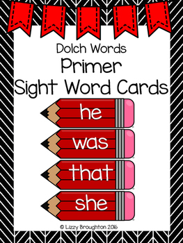 Dolch Primer Word Wall Sight Word Cards- Red