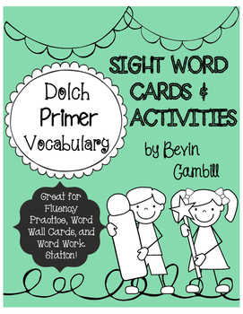 Dolch Primer Sight Word Cards and Activities