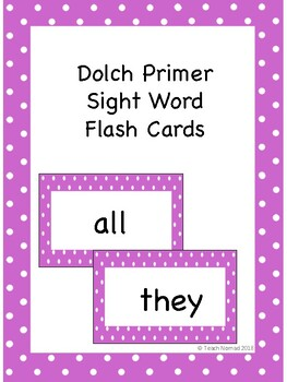 Dolch Primer Sight Word Flash Cards