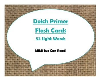 Dolch Primer Sight Word Flash Cards (Burlap and Turquoise)