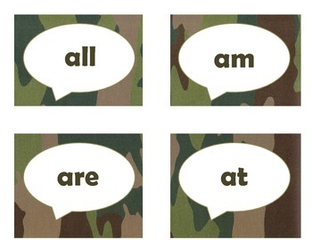 Dolch Primer Sight Word Flash Cards (Camo)