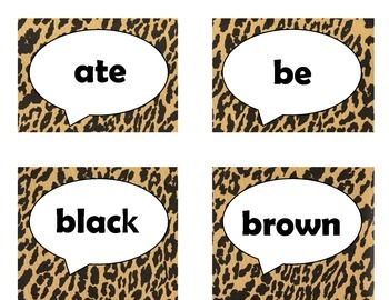 Dolch Primer Sight Word Flash Cards (Cheetah/Leopard with Black Lettering)