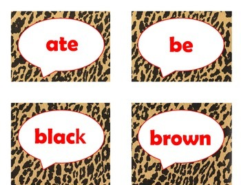 Dolch Primer Sight Word Flash Cards (Cheetah/Leopard with Red Lettering)