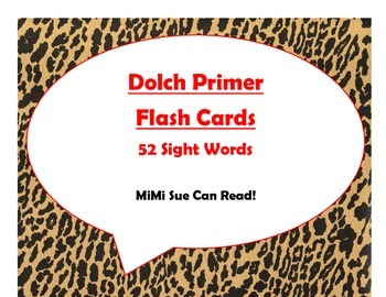 Dolch Primer Sight Word Flash Cards (Cheetah/Leopard with