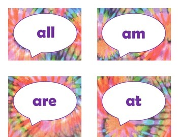 Dolch Primer Sight Word Flash Cards (Tie Dye with Purple Lettering)