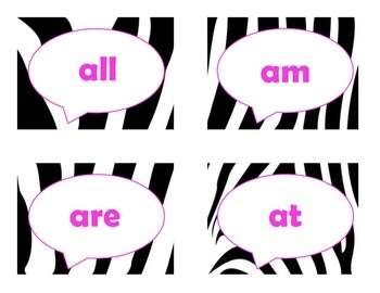 Dolch Primer Sight Word Flash Cards (Zebra with Hot Pink Lettering)