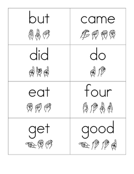 Dolch Primer Sight Word Flash Cards with ASL Spelling