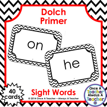 Dolch Primer Sight Word Flash Cards (with Chevron Frame)