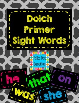 Dolch Primer Sight Word Flash Cards/Word Wall Cards