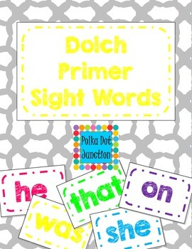 Dolch Primer Sight Word Flash Cards/Word Wall Cards in White