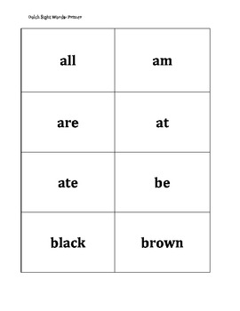Dolch Primer Sight Word Flashcards