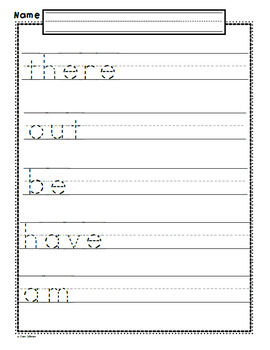 Dolch Primer Sight Word Handwriting Practice Worksheets