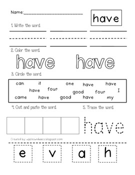 Dolch Primer Sight Word Printables