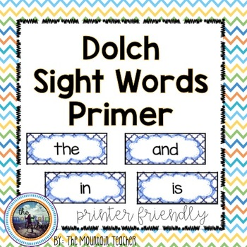 Dolch Primer Sight Word Rings/Word Wall Words/Flash Cards