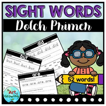 Kindergarten Sight Word Worksheets - Dolch Primer (52 Words)