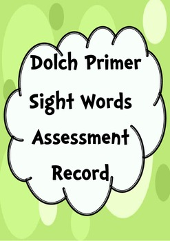 Primer Sight Words Assessment Record