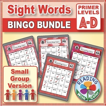 Dolch Primer Sight Words Bingo: Digital & Print - Four Games for Small Groups