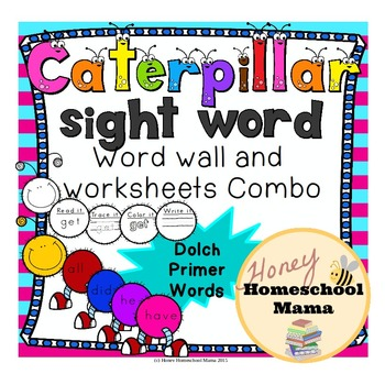 Dolch Primer Sight Words Caterpillar Combo Pack with Word Wall and Worksheets