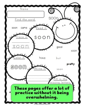 Dolch Primer Sight Words Caterpillar Worksheets