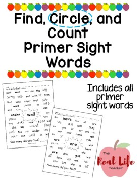 Primer Find and Count Sight Word Work Center or Independent Practice