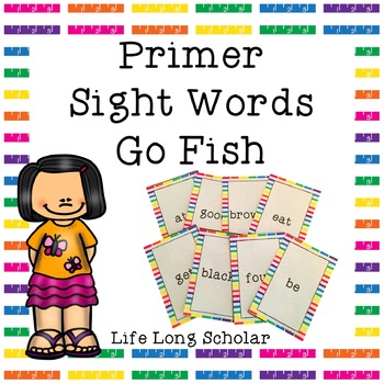 Dolch Primer Sight Words Go Fish Review Game