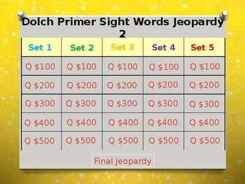 Dolch Primer Sight Words Jeopardy Power Point #2