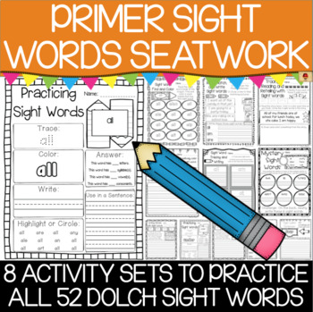 Dolch Primer Sight Words Practice Pages