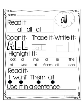 Dolch Primer Sight Words Printables