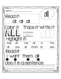 Dolch Primer Sight Words Printables