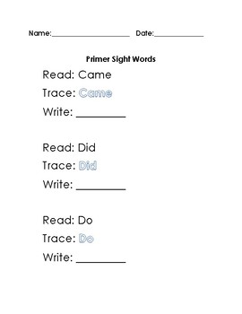 Dolch Primer Sight Words Worksheet (3 to a page)