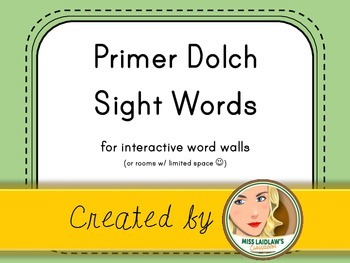 Dolch Primer Sight Words for Word Walls and Games (Light Green)