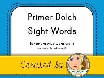 Dolch Primer Sight Words for Word Walls and Games (Bright Blue)