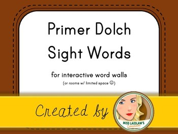 Dolch Primer Sight Words for Word Walls and Games (Brown)