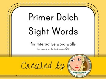 Dolch Primer Sight Words for Word Walls and Games (Yellow)