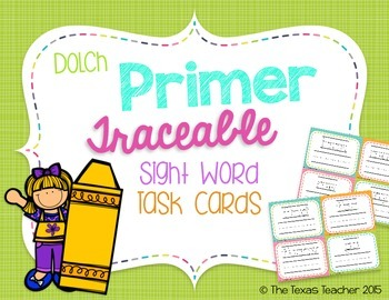 Dolch Primer Traceable Sight Word Task Cards