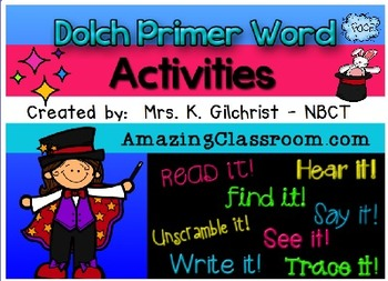 Dolch Primer Word Activities Promethean ActivInspire Flipchart