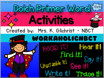Dolch Primer Word Activities - SMART NOTEBOOK Lesson