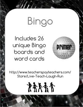 Dolch Primer Word List Bingo - Disco Theme
