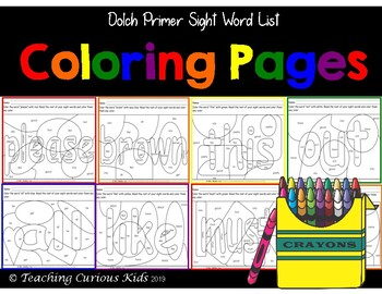 Dolch Primer Word List Coloring Words