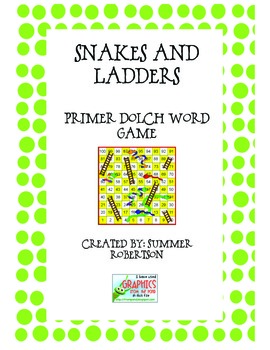 Dolch Primer Word Snakes and Ladders Game