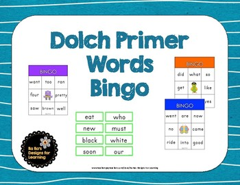 Dolch Primer Words Bingo