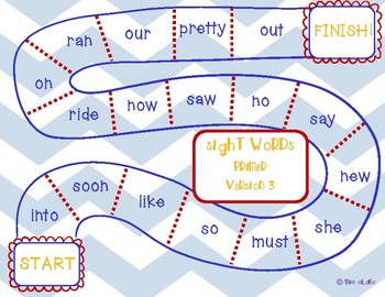 Dolch Primer Sight Words Game Boards