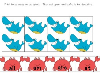 Dolch Primer Words Shark Game