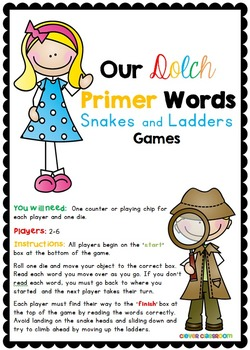 Dolch Primer Words Snakes and Ladders Games Center Activity