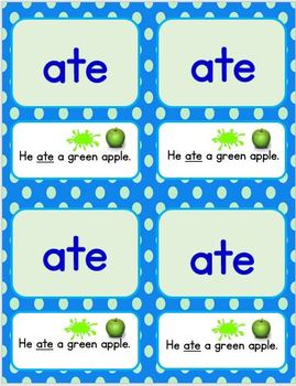 Dolch Primer Words and Sentences Cards