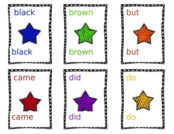 Dolch Primer list game cards