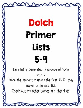 Dolch Primer practice Lists